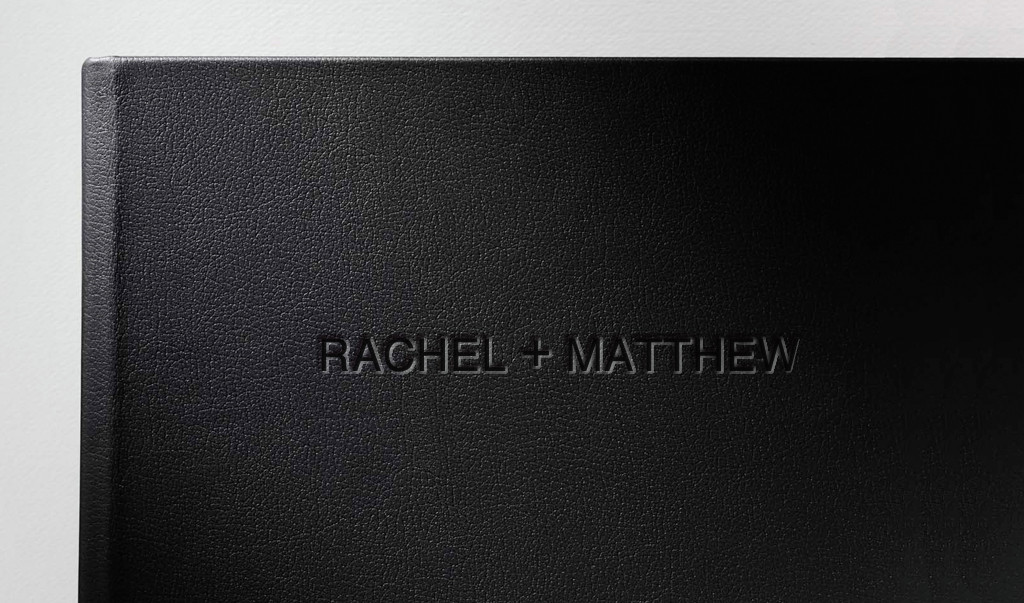 Black Leather, embossed in Futura
