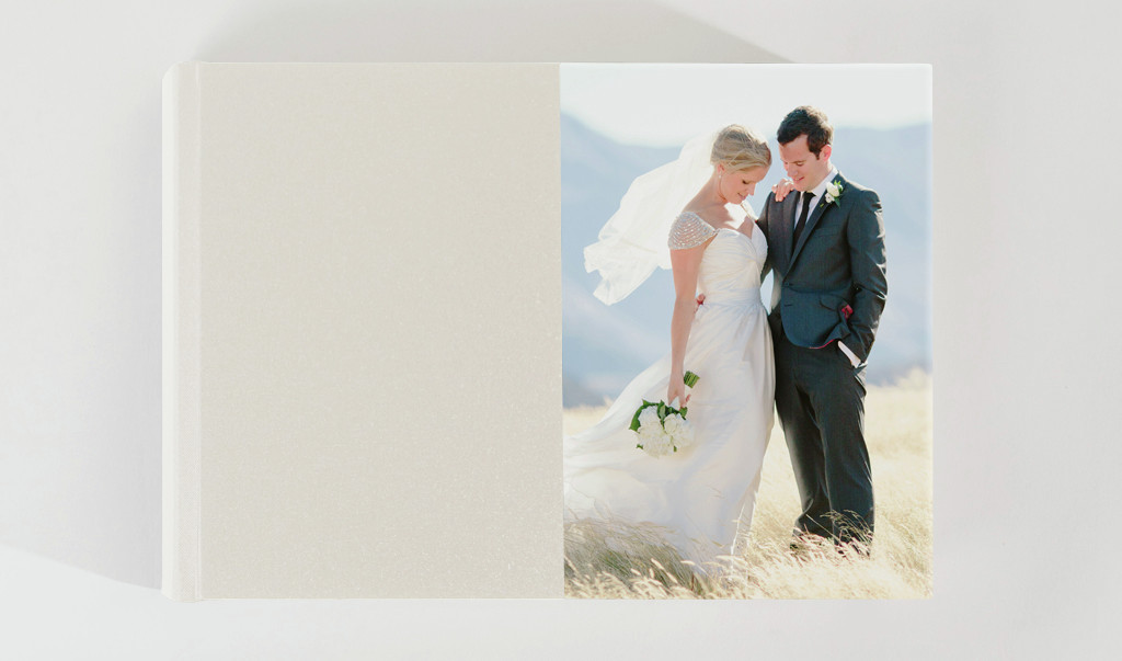 14x10 album with 1:2 Photo Front, Pearl Buckram