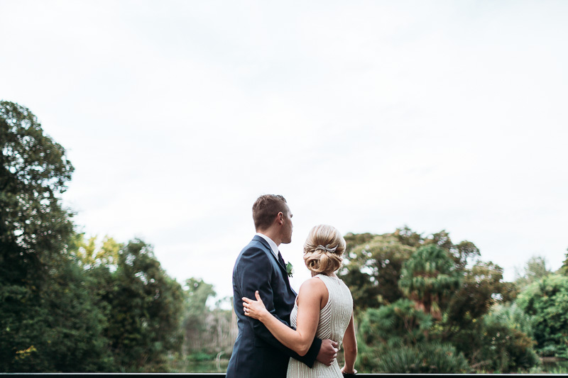 view of happy couple from the back, post wedding photography in melbourne